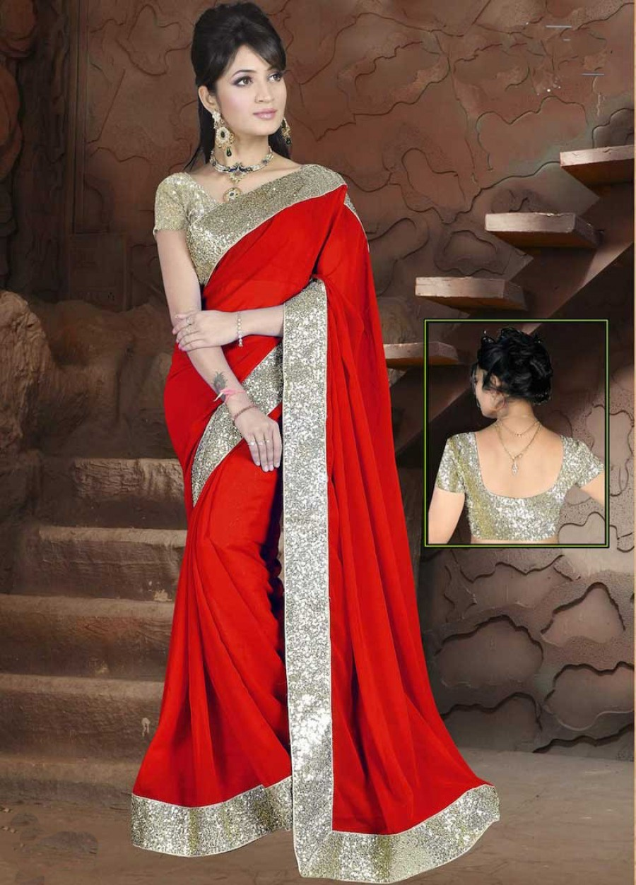 Buy Santana Red plain georgette designer saree with blouse Online