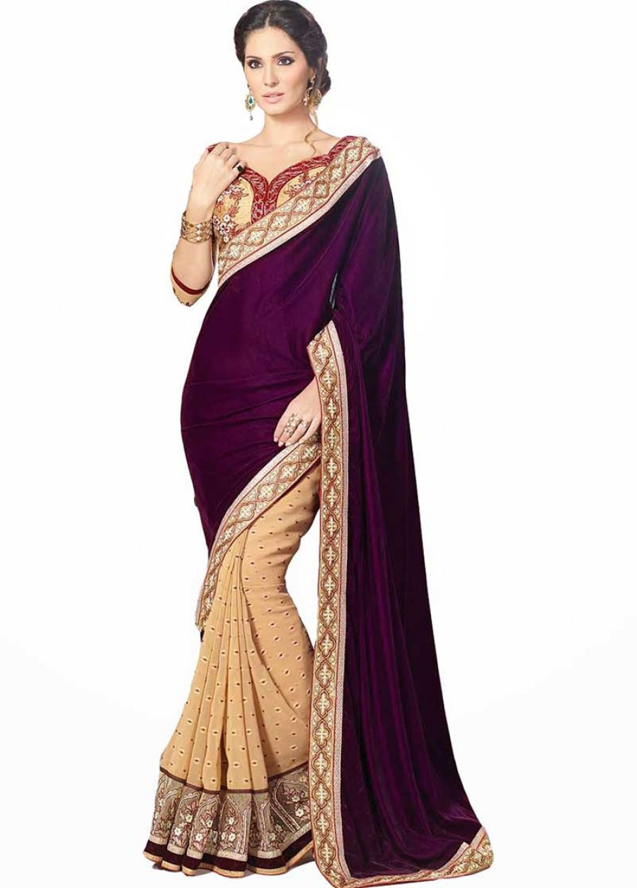 Buy Santana Purlpe plain velvet and thousand butti half designer saree with blouse Online