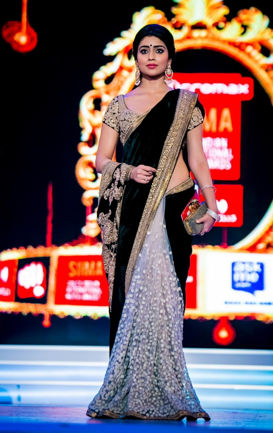 Buy Santana Black worked velvet and white net half half actress saree with blouse Online