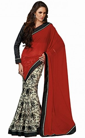 Buy Santana Red White Printed Half and Half Designer Saree Online