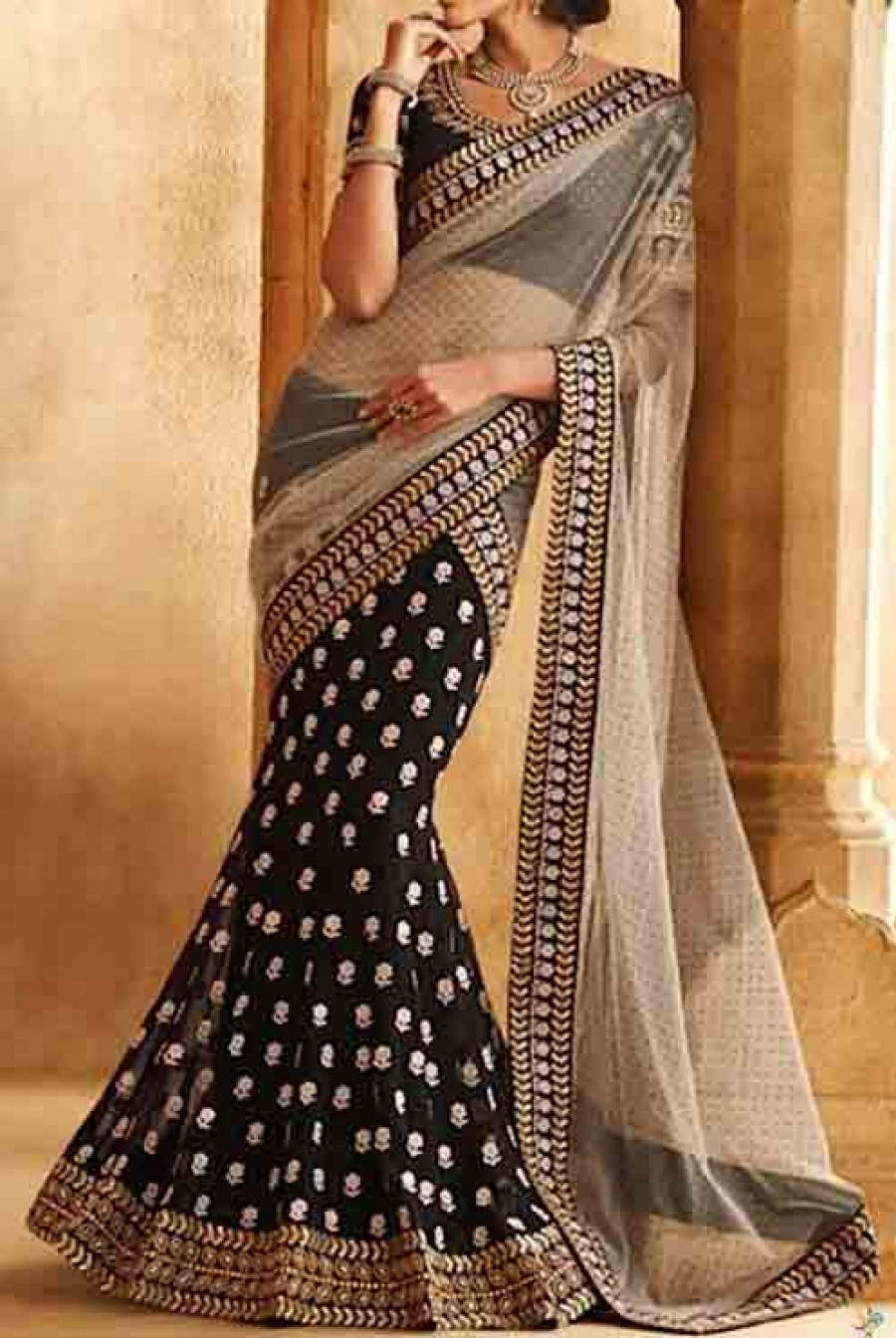 Buy Chiku net and black geogette half lahenga saree with blouse Online