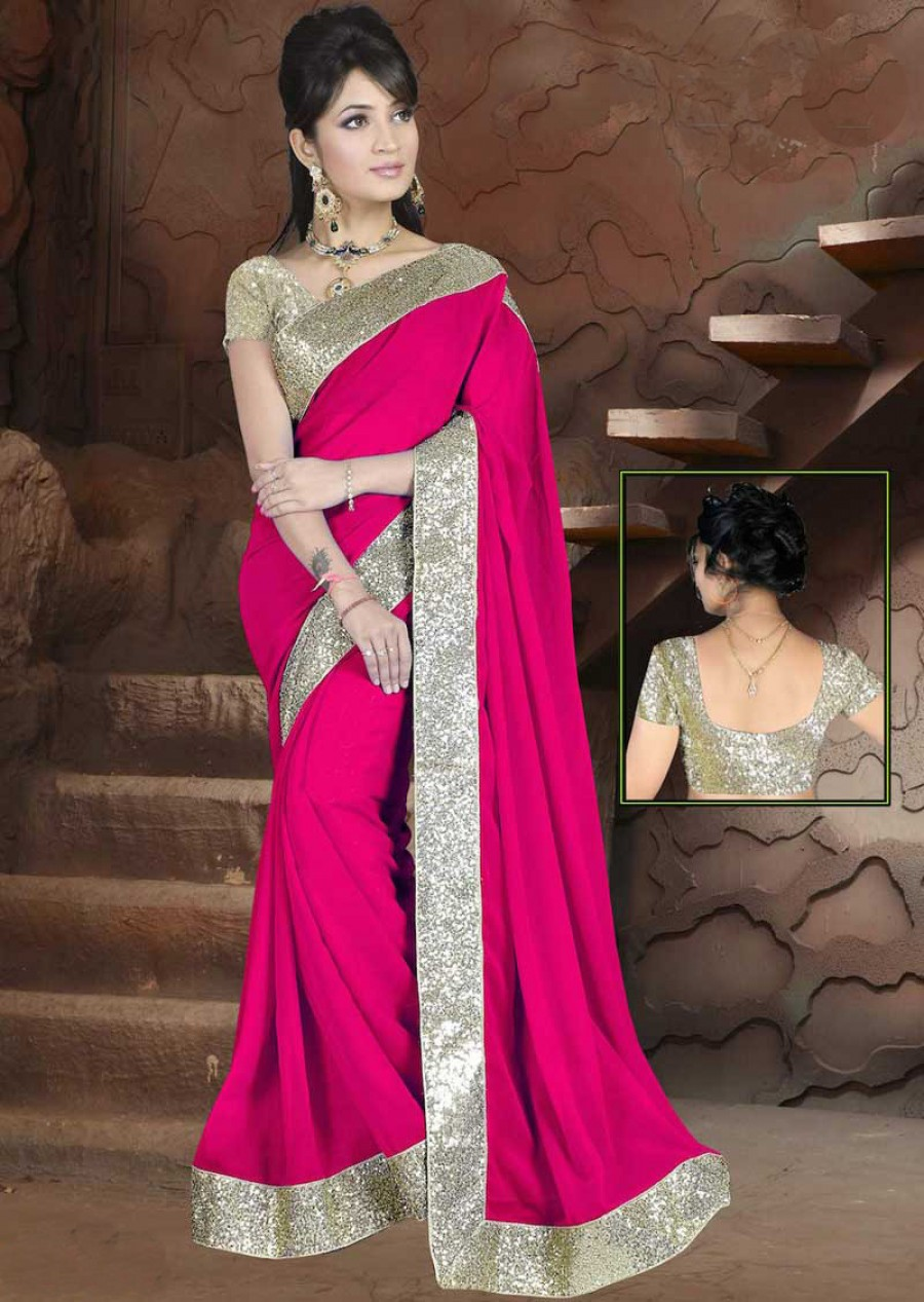 Buy Santana Pink plain georgette designer saree with blouse Online