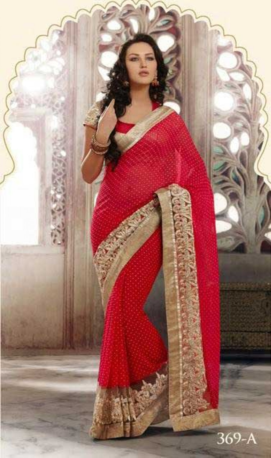 Buy Santana Red georgette designer saree with blouse Online