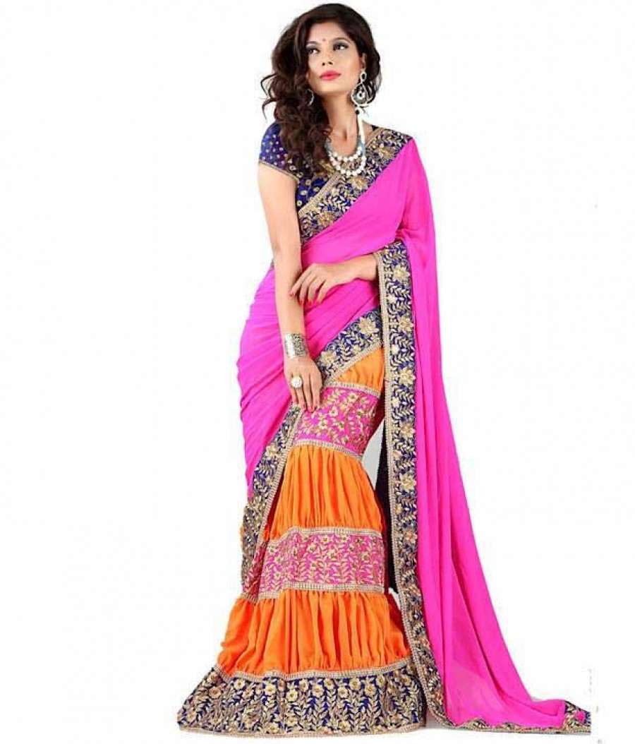 Buy Santana Pink Plain Georgette And Orange Heavy Worked Lahenga Style Saree With Blouse Online