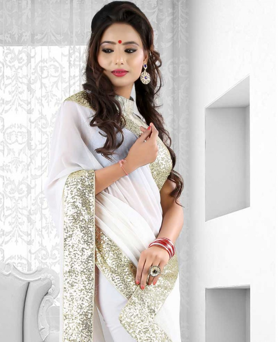 Buy Santana Designer White Faux Georgette Sari with Golden Border Online
