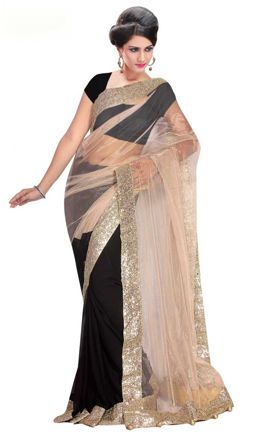 Buy Santana Designer Black & Beigh Half and Half Saree Online