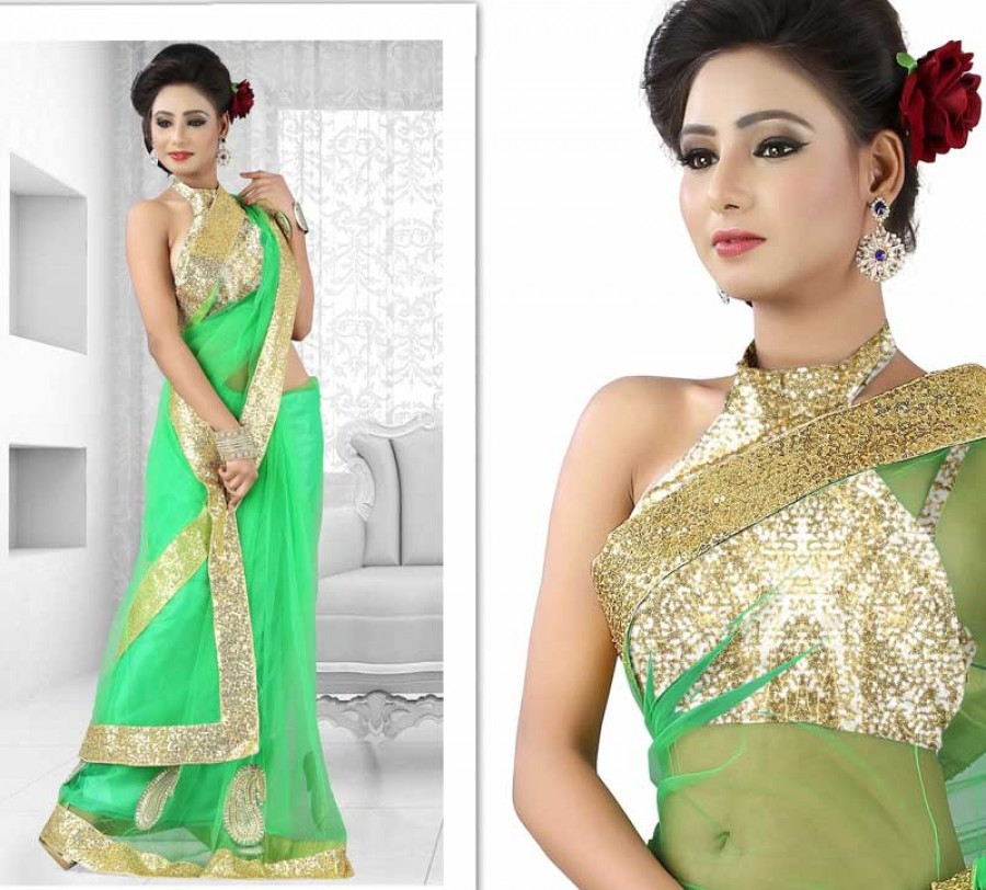 Buy Santana Designer Green Net Saree with Zari Border Online