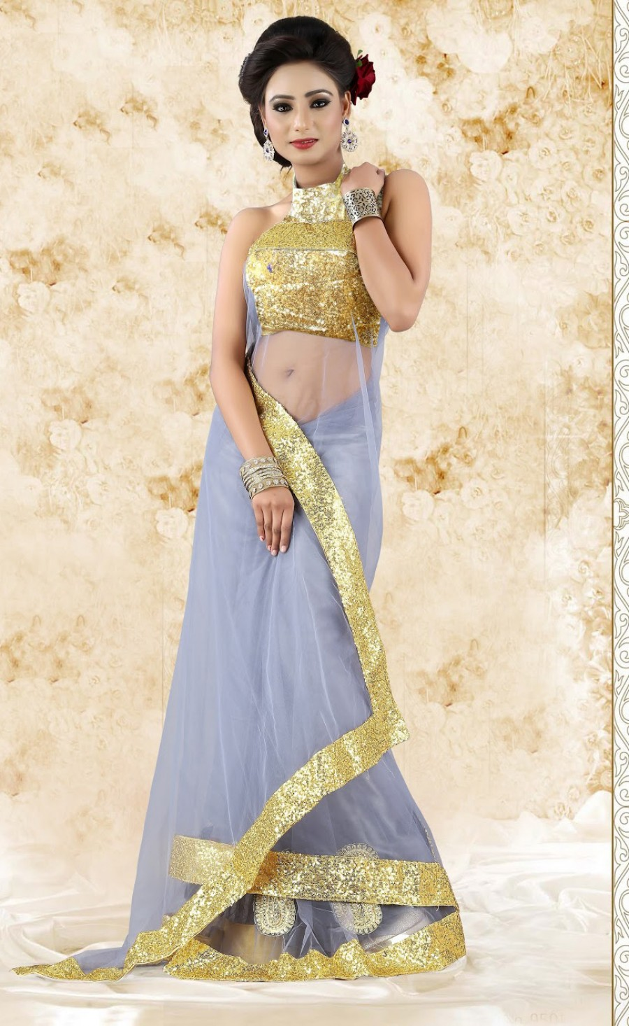 Buy Santana Designer Grey Net Saree with Zari Border Online