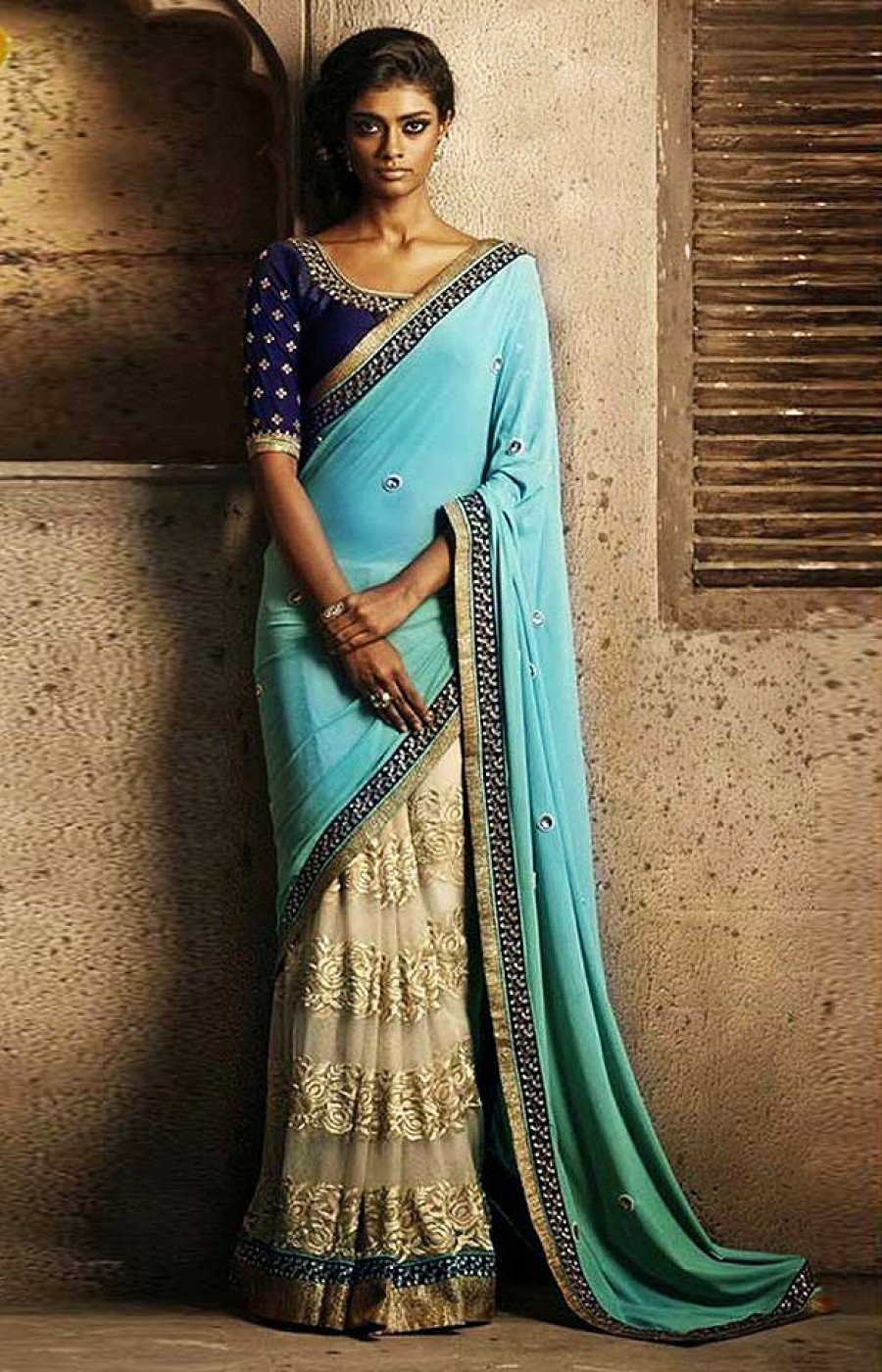 Buy Santana blue and cream georgette and net half model saree with blouse Online