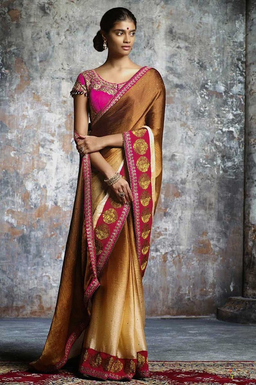 Buy Coffee plain sattin chiffon padding  designer saree witk pink blouse Online