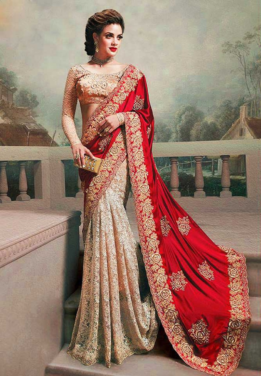 Buy Santana red and chiku silk georgette and rassal net  n designer bollywood saree with blouse Online