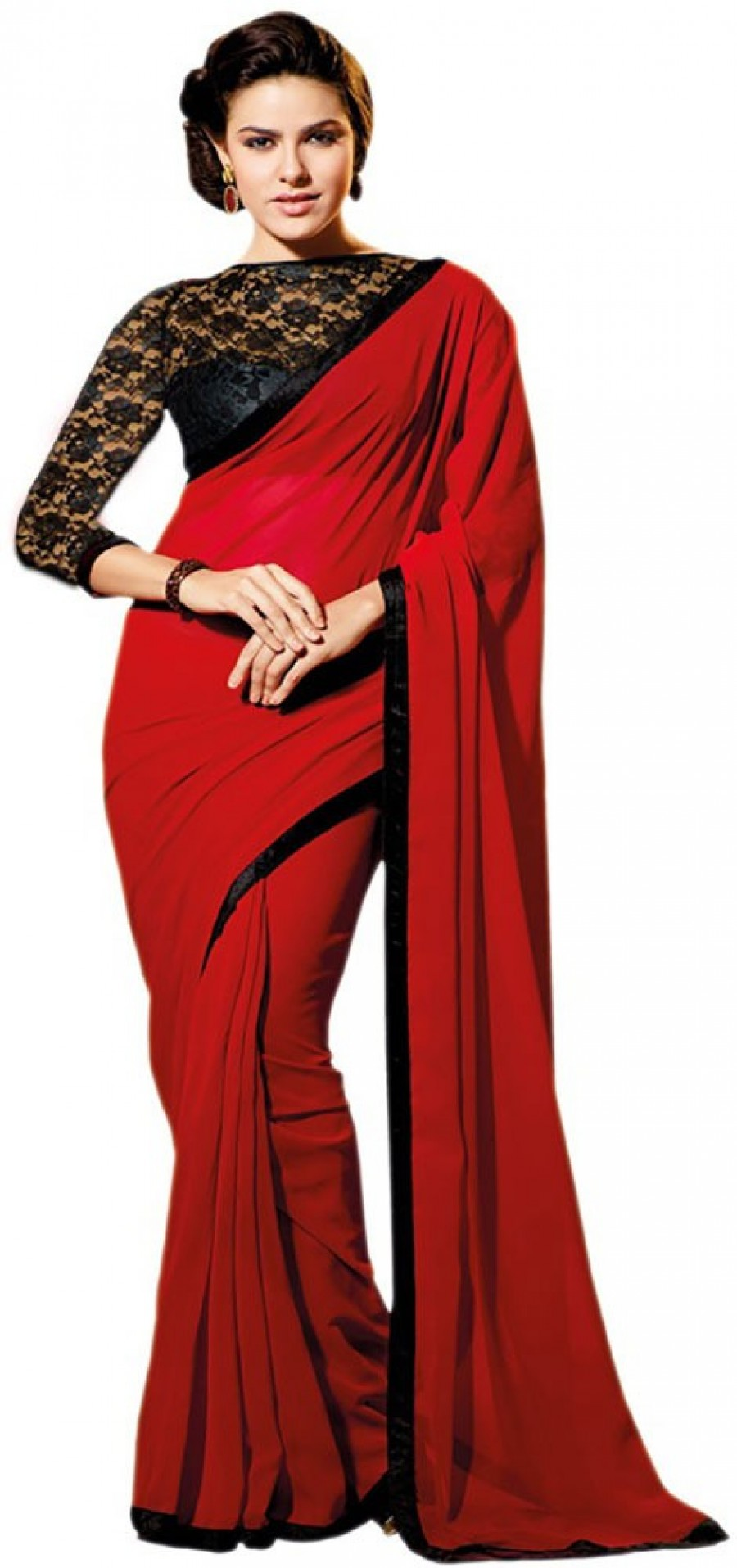 Buy Santana red plain georgette  mm designer saree with blouse Online