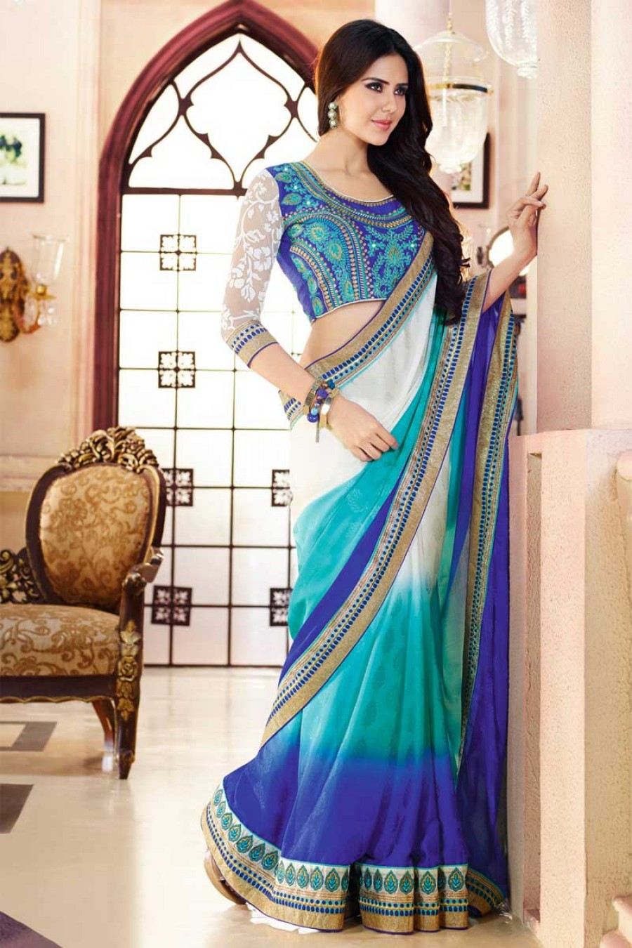 Buy Santana triple multy colour padding jacquard plain designer saree with artsilk and braso net blouse Online