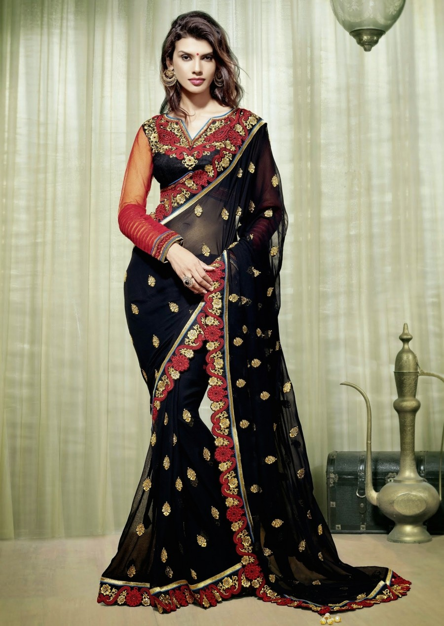 Buy Santana black worked saree with workes cut work lace border and black artsilk and red net blouse Online