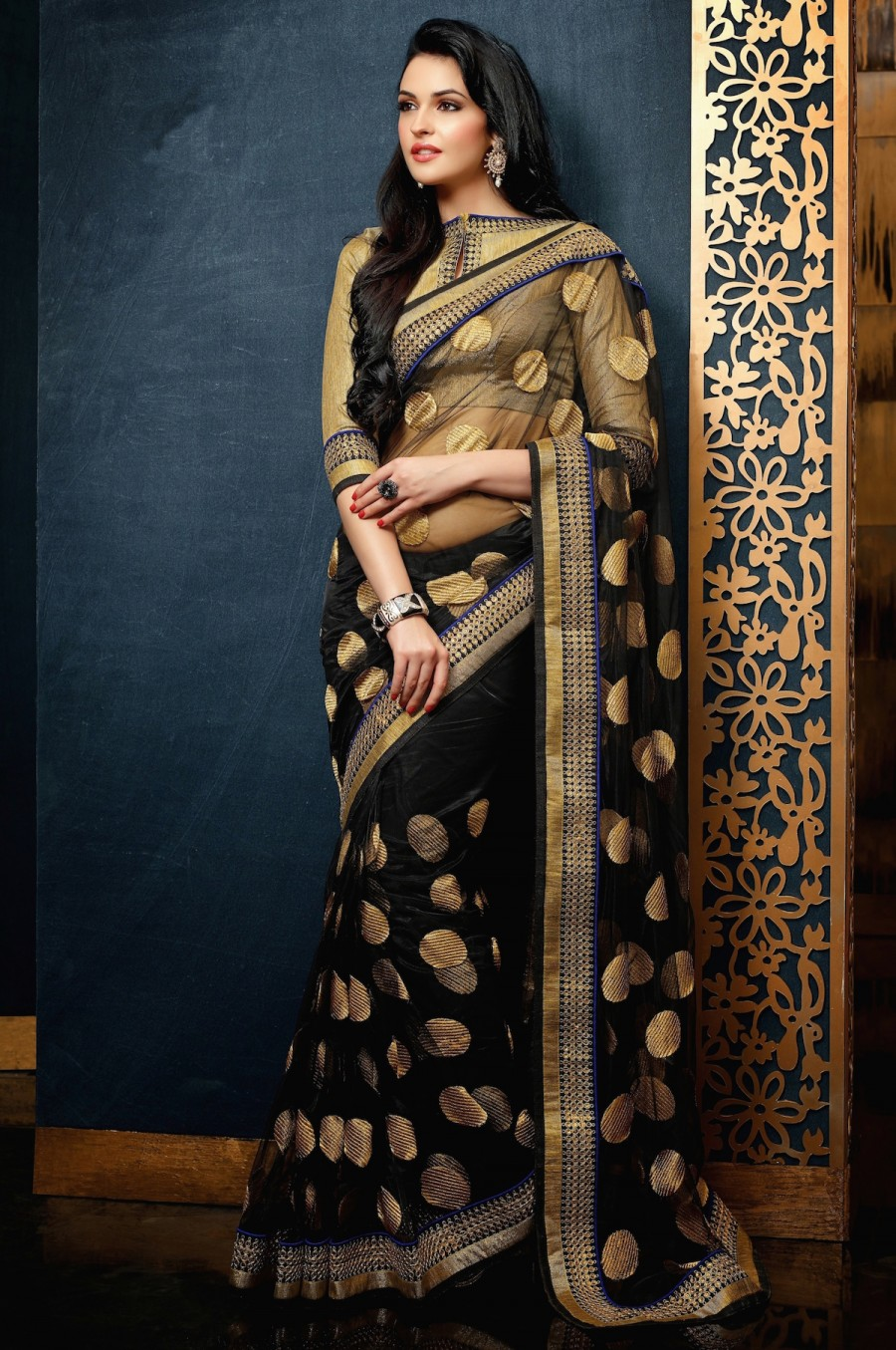 Buy Santana black net saree has gold zari work pallu and broad lace border with artsilk blouse Online