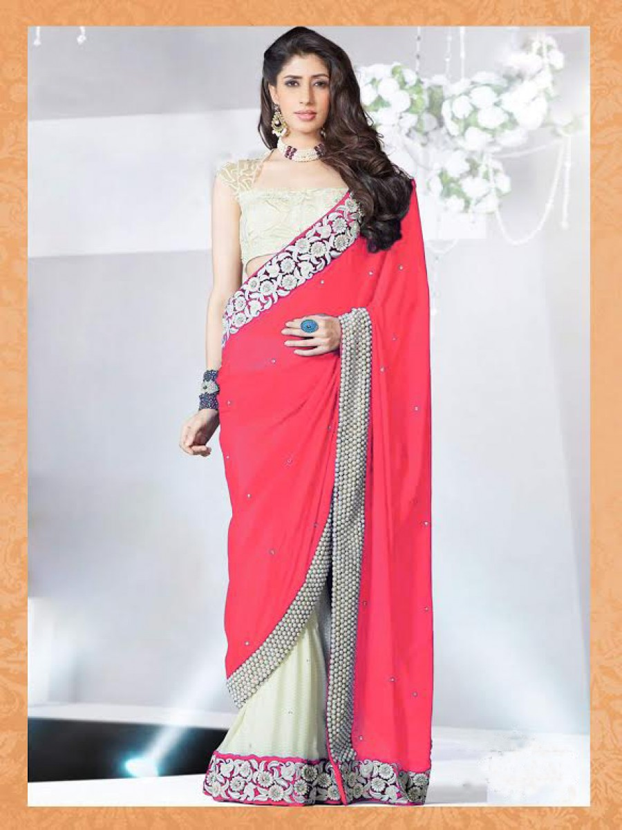 Buy Santana pink smoth cotton silk and chiffon foil print half saree, with blouse has offwhite raw silk febric  Online