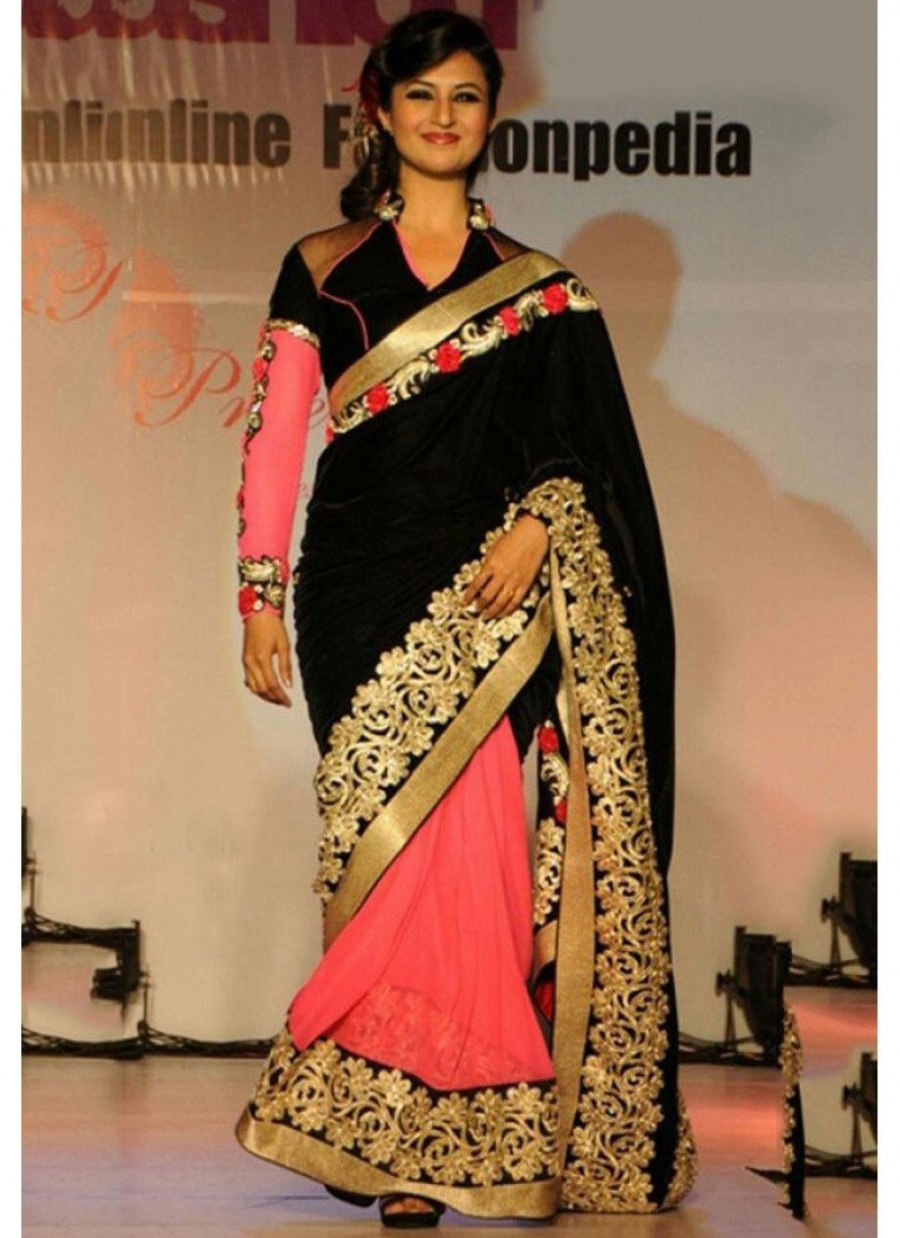 Buy Santana black and pink gold zari worked georgette half half saree with black artsilk blouse  Online