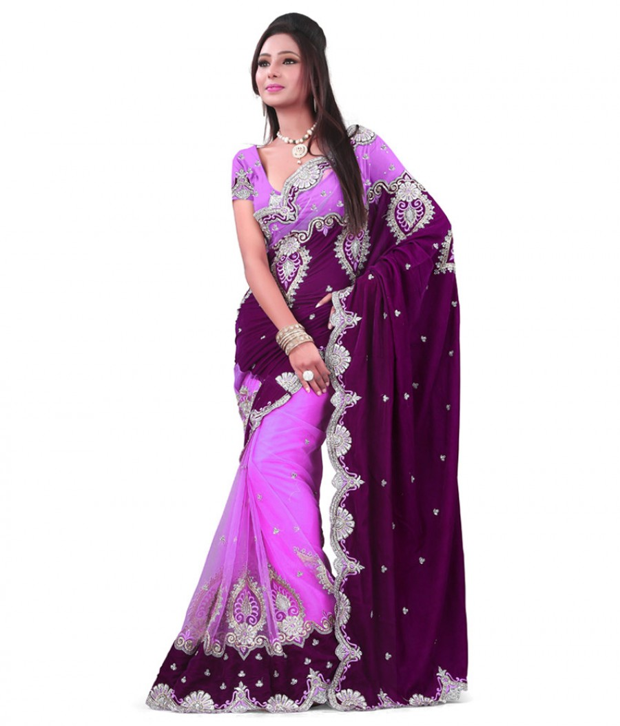 Buy Santana velvet used in pallu febric with super finished heavy embroidary cut work with  blouse in worked net fabric Online