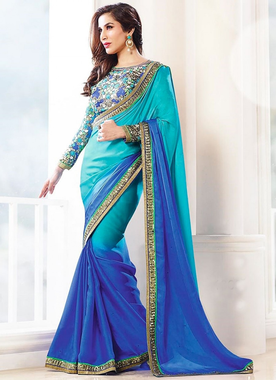 Buy Shiphie in padding silky georgette saree with heavy worked blose and full worked sleeve Online