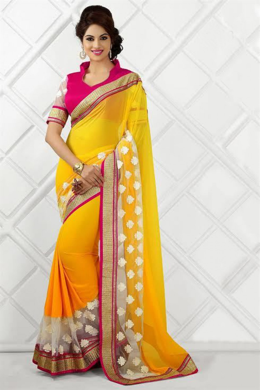 Buy  Yellow georgette with white net  worked belt designer saree with pink artsilk blouse with comes  worked net white sleev.. Online