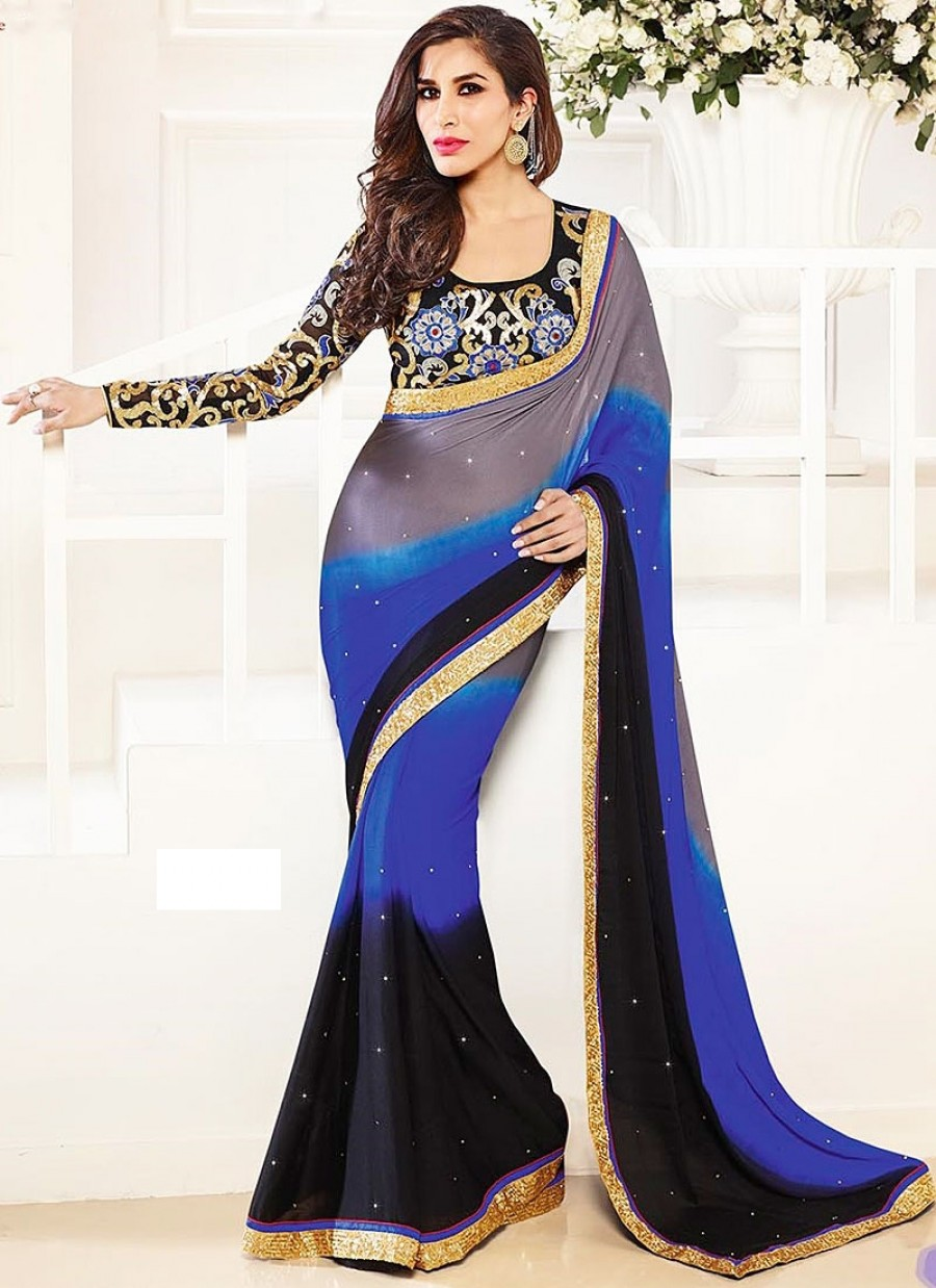 Buy Shopine black-blue-gray 3D colour padding satin febric with black gergette heavy work blouse piese Online