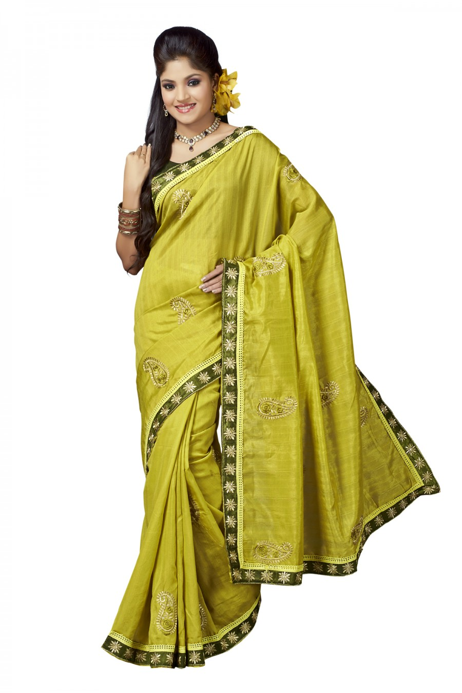 Buy Santana Yellow Green Bollywood Replica Designer Saree Online