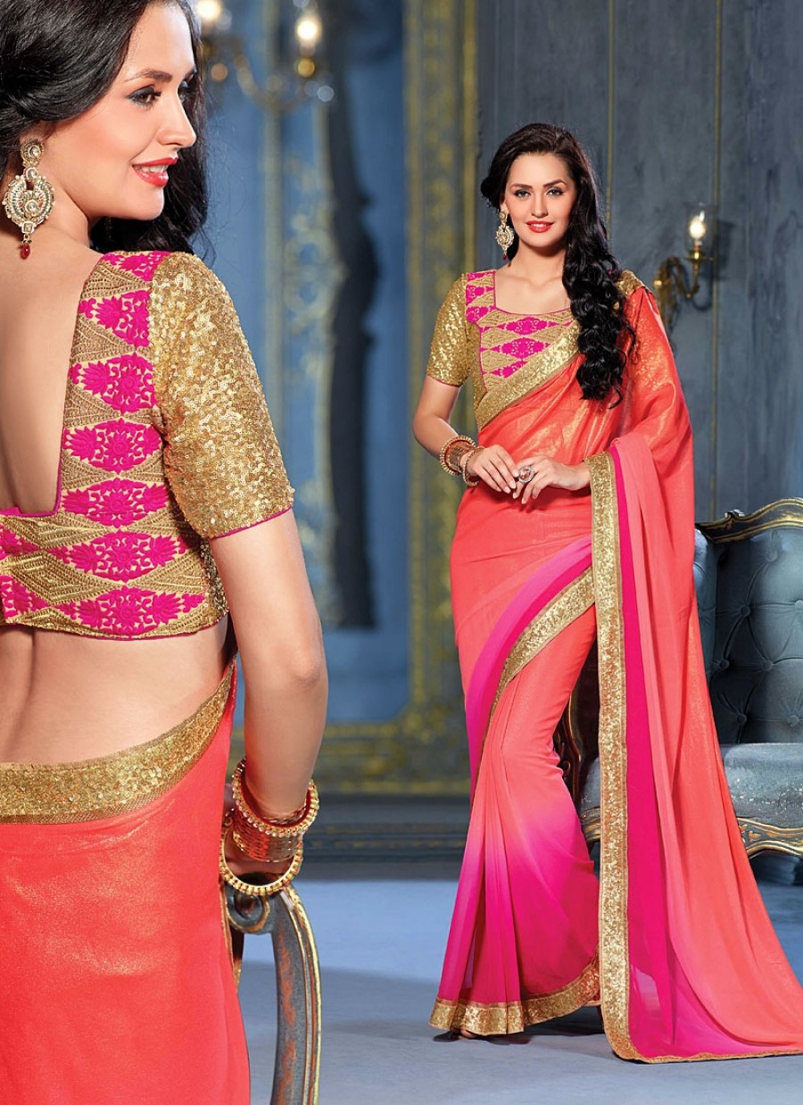 Buy SANTANA RED AND PINK PADDING SHINING GEORGETTE SAREE WITH BLOUSE Online
