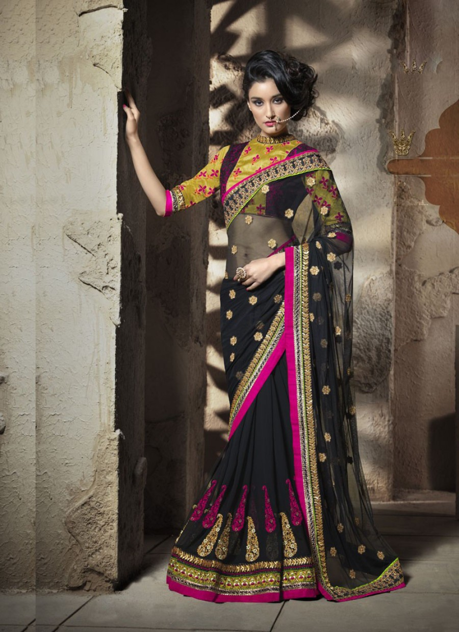 Buy SANTANA BLACK NET EMBROIDRED SAREE WITH BLOUSE Online