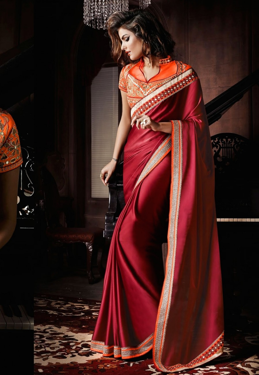 Buy SANTANA MAROON PLAIN SILK GEORGETTE SAREE WITH BLOUSE Online
