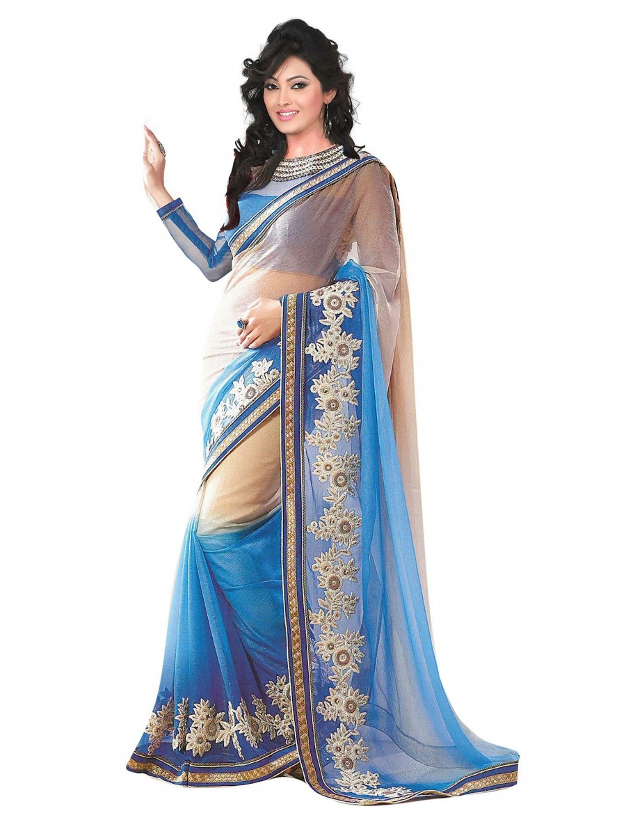 Buy SANTANA SKY BLUE AND CREAM WORKED  SATTIN CHIFFON PADDING SAREE WITH BLOUSE Online
