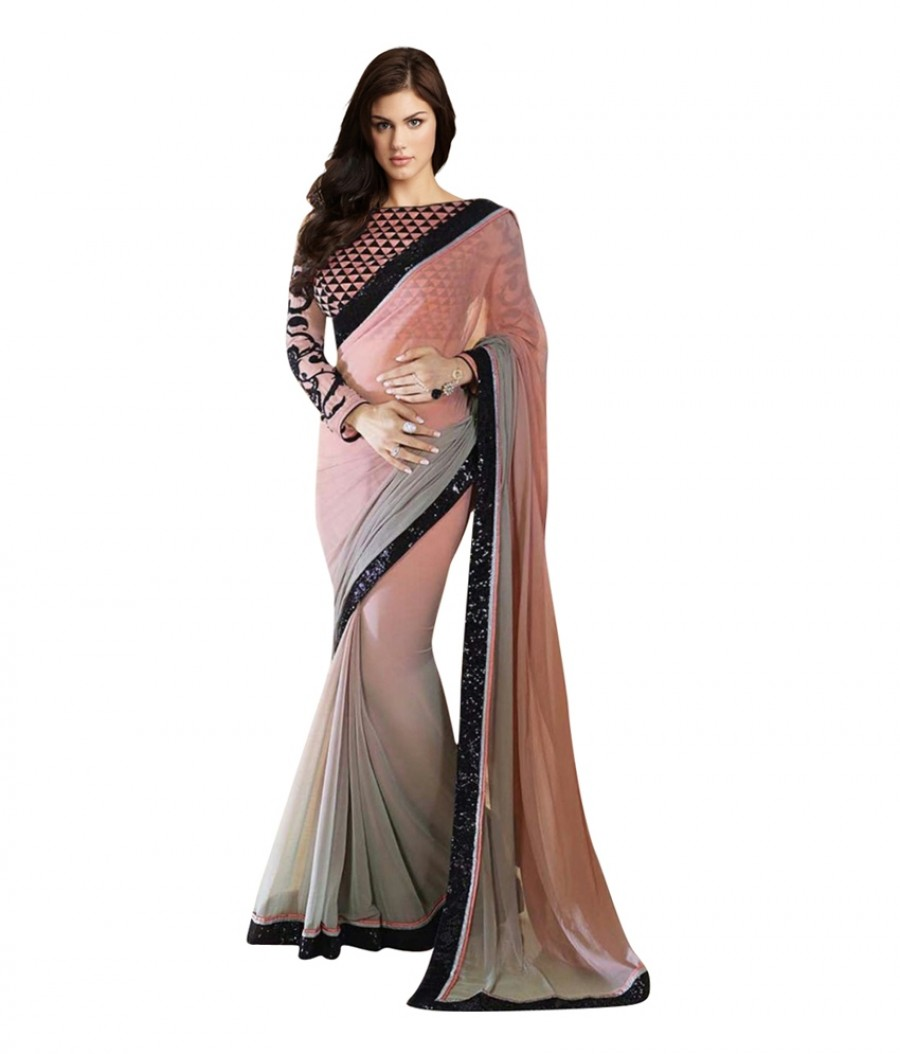 Buy Santana Pink Gray Bollywood Replica Saree Online