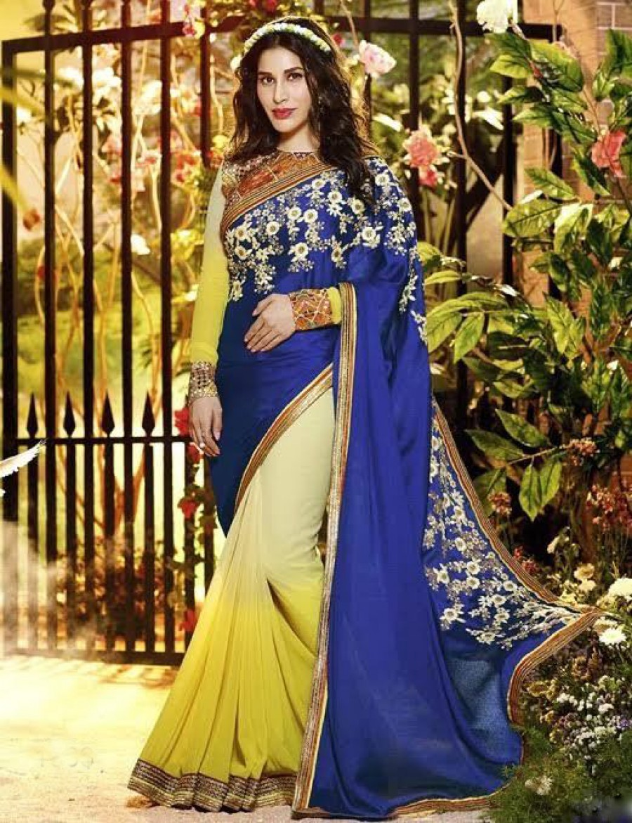 Buy Santana Blue And Yellow Georgette Designer Saree Online