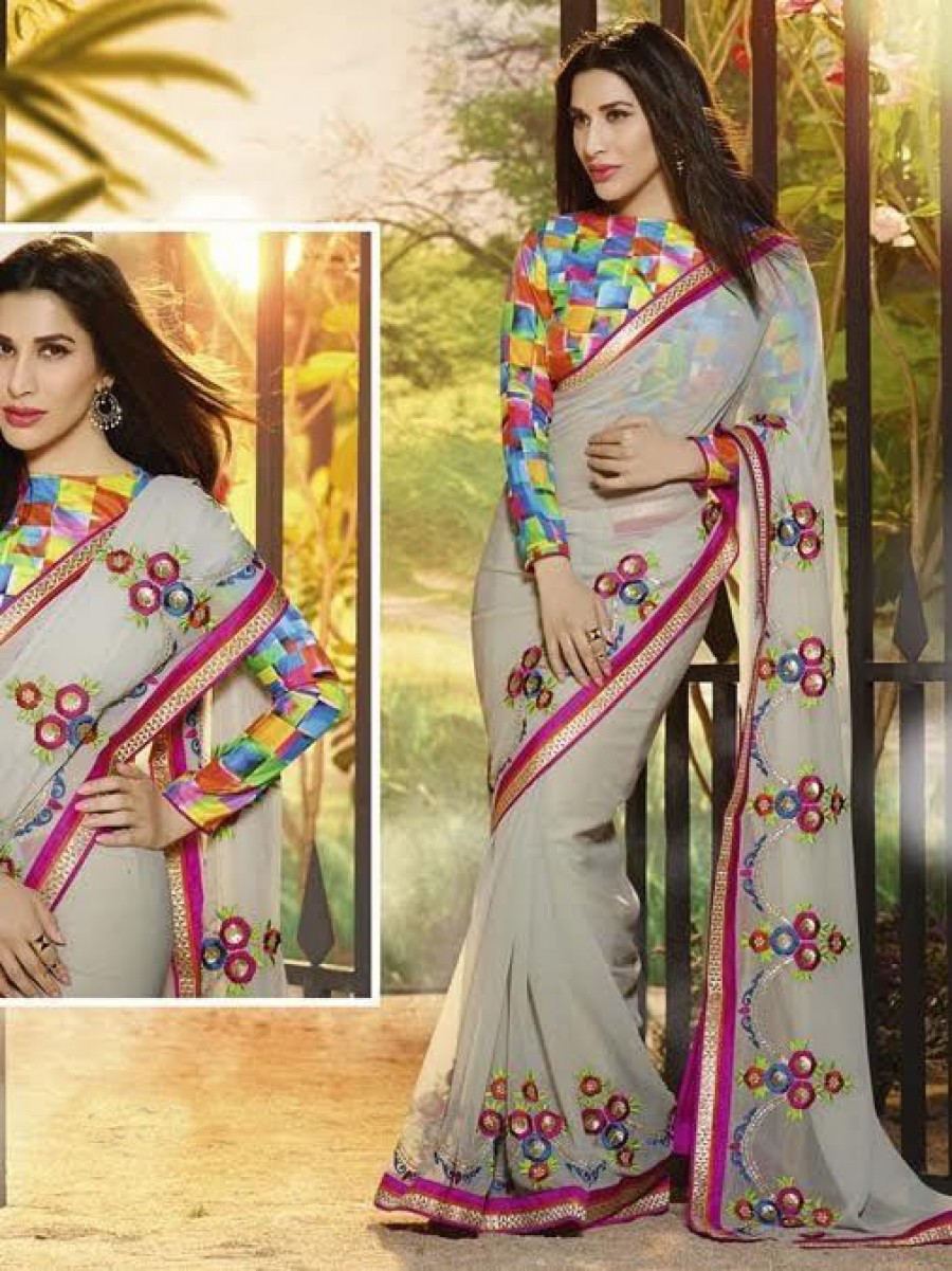 Buy Santana Grey Printed Designer Saree With Blouse Online