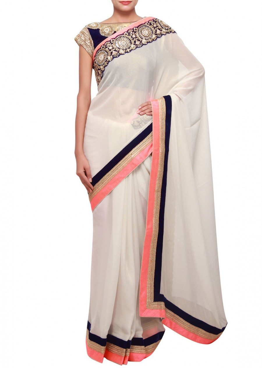 Buy Santana Off White Georgette Pink Work Designer Saree   Online