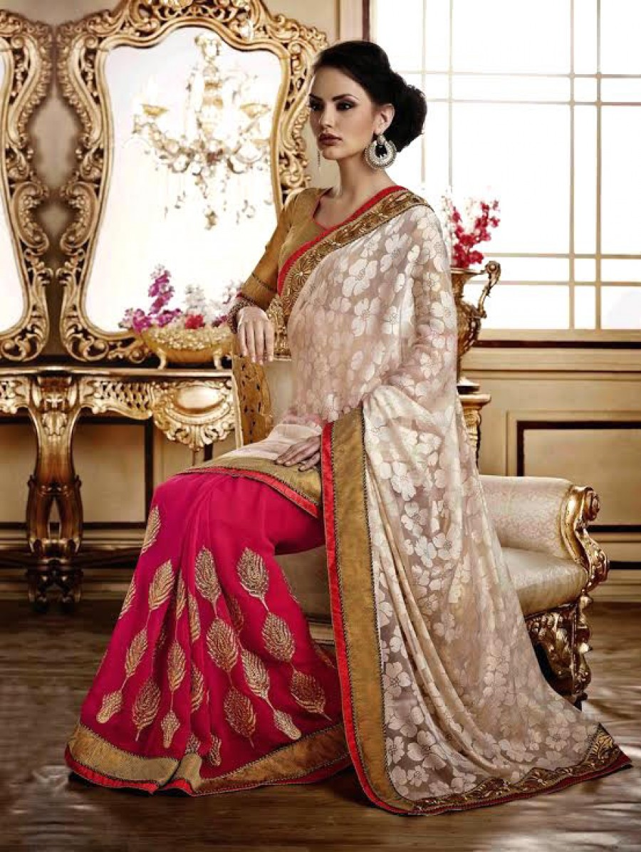 Buy Santana Off White And Pink Georgette Designer Saree Online