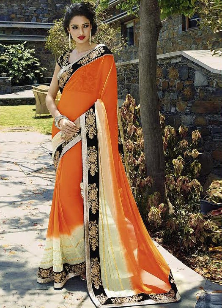 Buy Santana Cream And Orange Designer Saree Online