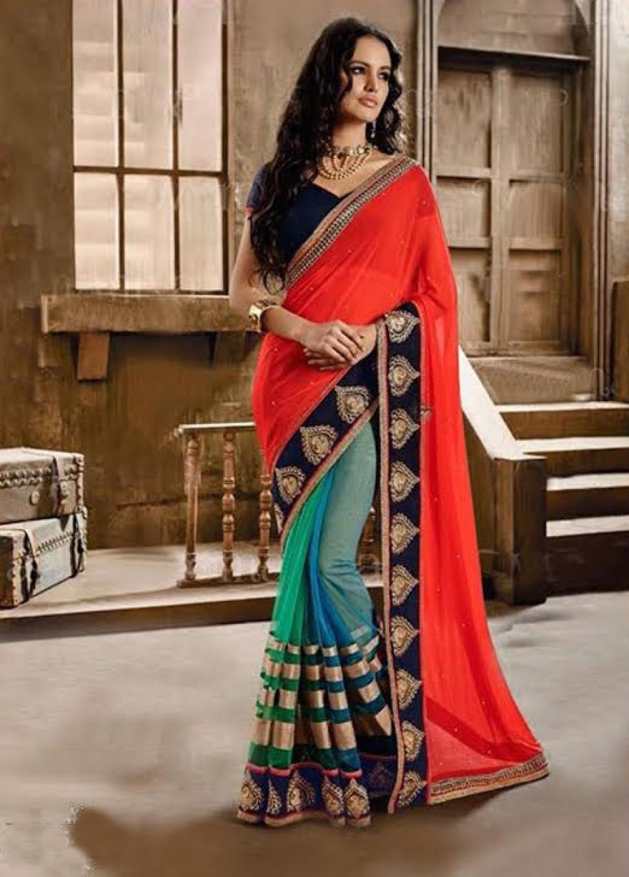 Buy Santana Orange Plain Georgette And Multi Color Net Designer Saree Online