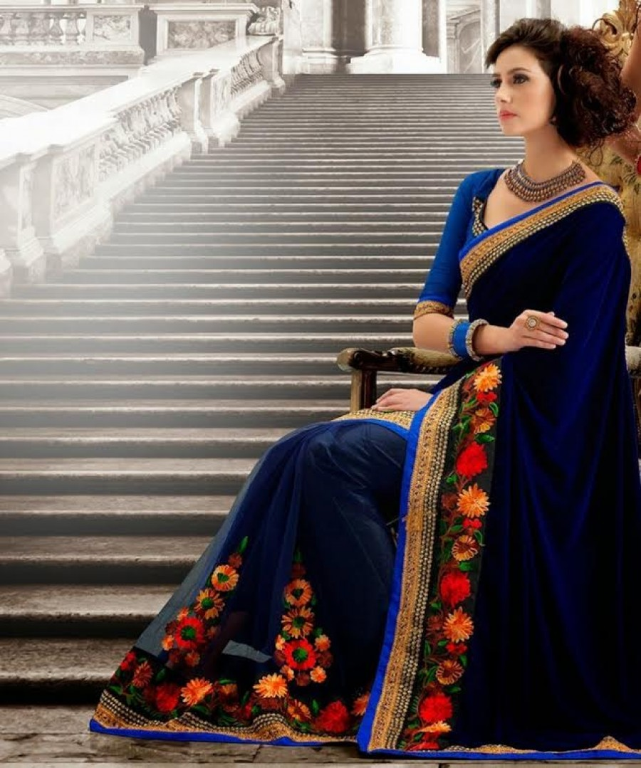 Buy Santana Blue Velvet And Net Designer Saree Online