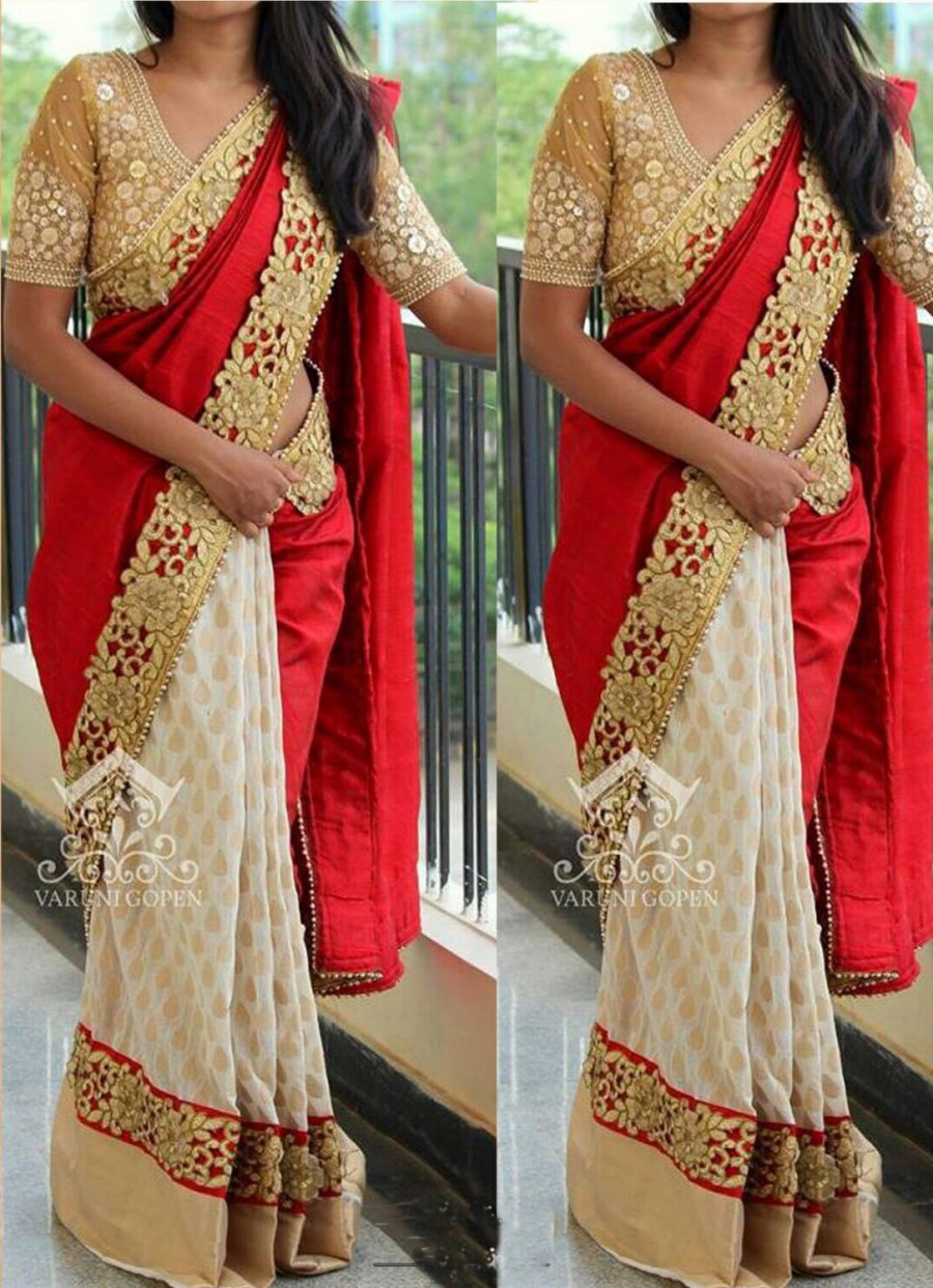 Buy Santana Red And White Silky Velvet And Chiffon Foil Print  Saree With Blouse Online