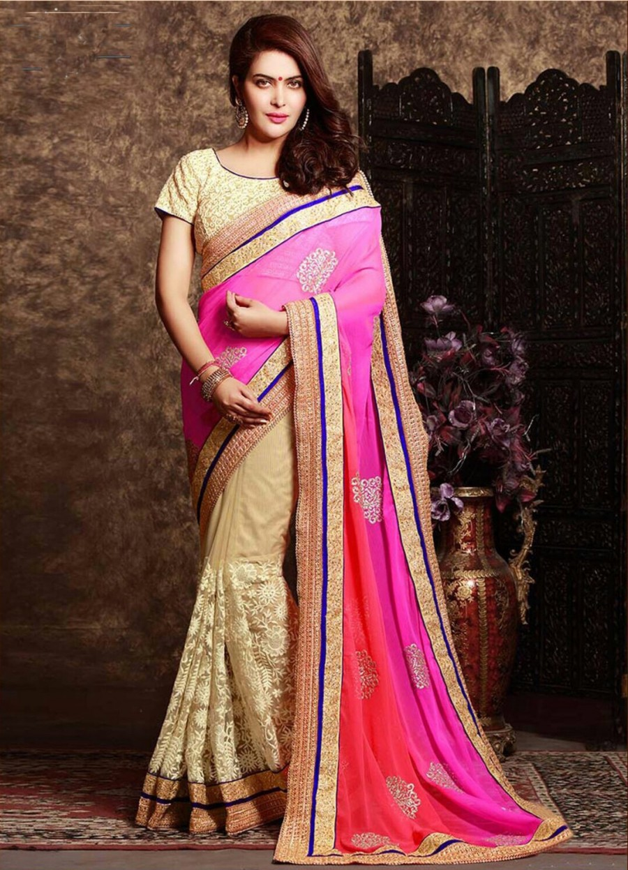Buy SANTANA PINK,RED & CREAM PADDING GEORGETTE & NET HALF HALF SAREE WITH BLOUSE  Online