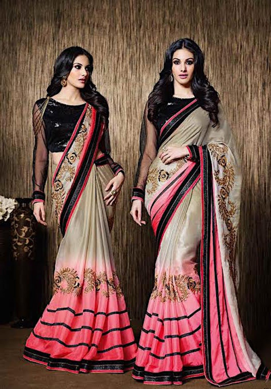 Buy Santana Stunning In Pink And Grey Padding Silk Chiffon Saree With Blouse Online
