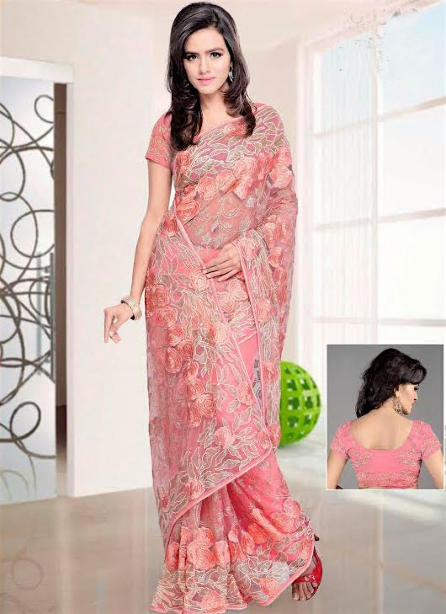 Buy Santana Pink Net Worked Bridal Saree With Blouse Online