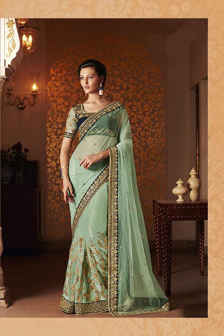 Buy Santana Green Worked Net Designet Saree With Blouse Online