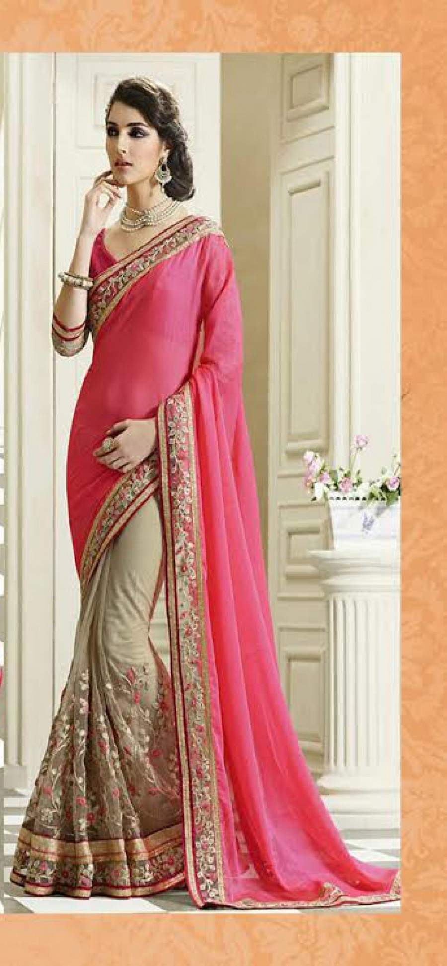 Buy Santana pink georgette and cream net worked half half saree with blouse Online