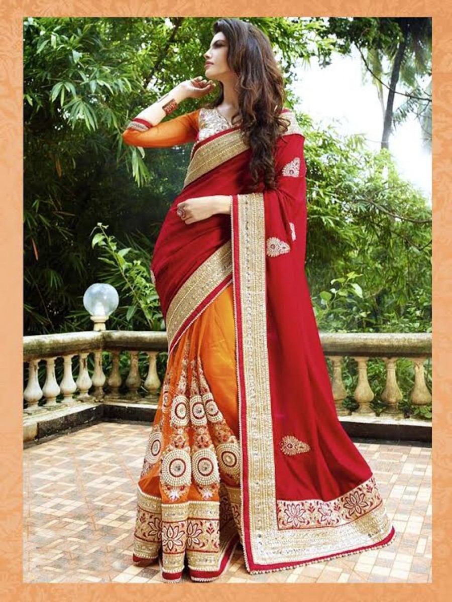 Buy Santana red chiffon + orange net worked saree with blouse Online