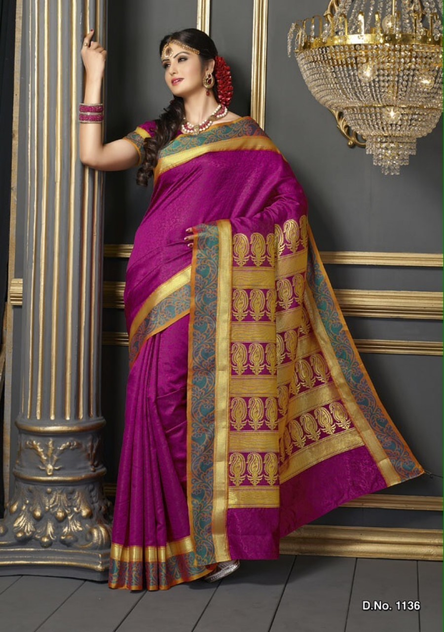 Buy Kanchipuram Style Designer Purple Colour Butter Silk Saree Online