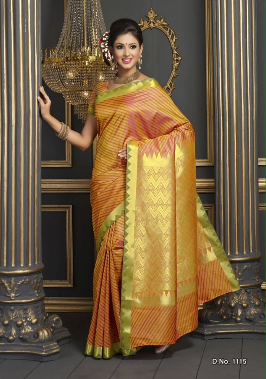 Buy Kanjivaram Style Designer Orange Colour Butter Silk Saree with Floral work Online