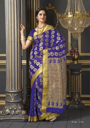 Buy Traditonal Designer Dark Blue Colour Butter Silk Saree Online