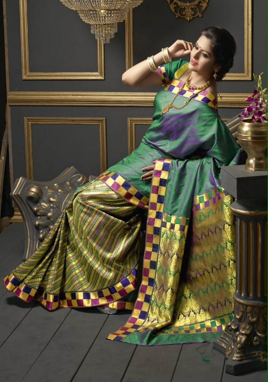 Buy Traditional Designer Multi Colour Butter Silk Saree Online