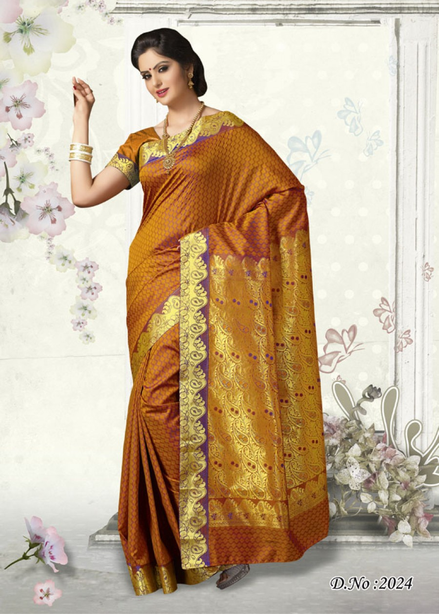 Buy Traditional Orange Butter Silk Designer Saree   Online
